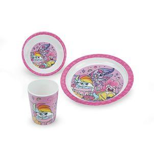 Set-de-vajilla-en-melamine-para-niNas-Sin-BPA-color-fucsia